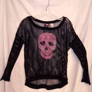 Hard Candy Pink Skull Fishnet Long Sleeve Shirt